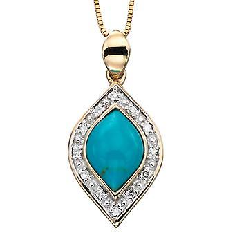 9 ct goud met turkoois en Diamond Necklace