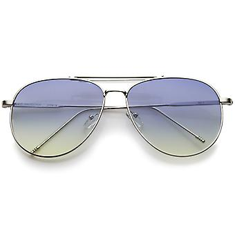 Large Classic Teardrop Crossbar Oceanic Flat Lens Aviator Sunglasses 56mm