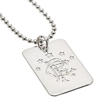Rangers Silver Plated Pendant & Chain DT