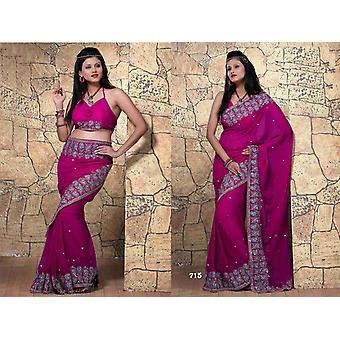 Saree Bhaumi Georgette Sari indiano tessuto Bellydance