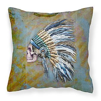 Day of the Dead Indian Chief Skull  Fabric Decorative Pillow