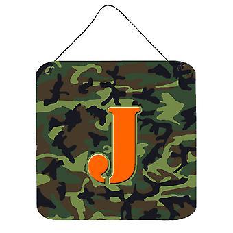 الحرف J مونوغرام الأولية-التمويه حائط أخضر أو باب شنقاً يطبع