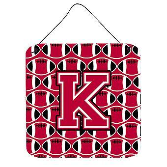 Buchstabe K Fußball Crimson und weiße Wand oder Tür hängen Drucke