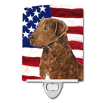 USA American Flag with Curly Coated Retriever Ceramic Night Light