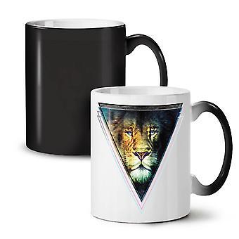 Lion Face Cat Cool NEW Black Colour Changing Tea Coffee Ceramic Mug 11 oz | Wellcoda
