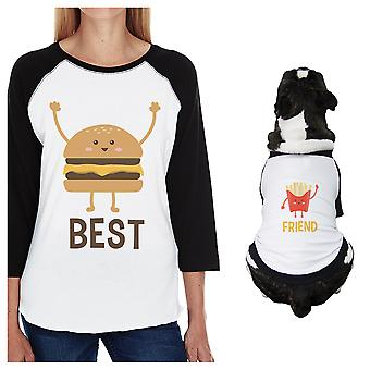 ハンバーガーとフライド ポテトの小型犬とママ服ラグラン t シャツをマッチング