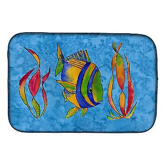 Carolines tesoros 8713DDM Troical peces y algas en el plato azul secado Mat
