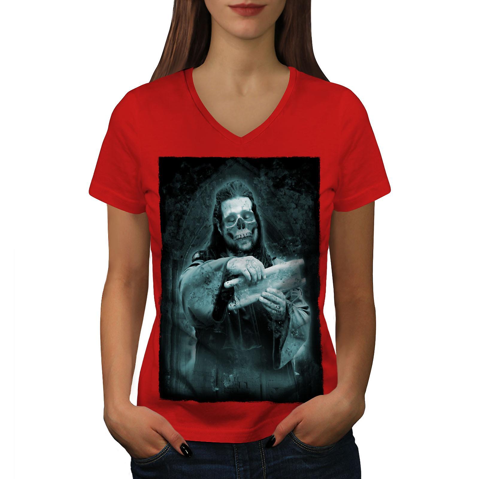 Église de mort Rock femmes RedV-Neck T-shirt | Wellcoda