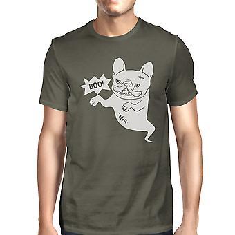 Boo French Bulldog Halloween Ghost Shirt Mens Dark Grey Graphic Tee