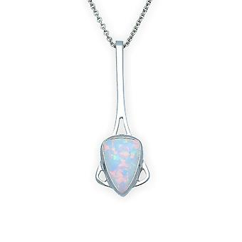 Sterling Silver Scottish Sahara Sunset hand crafted colar pingente-White Opal Stone-SP284