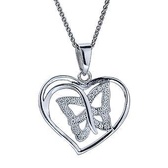 Orphelia Silber 925 Anhänger mit Kette Herz/Schmetterling Zirkonium ZH-4878