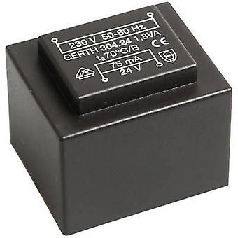 Gerth PT303002 PCB mount transformer 1 x 230 V 2 x 15 V AC 1.80 VA 60 mA