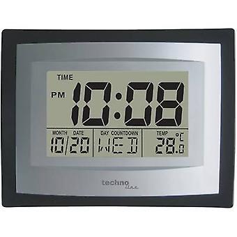 Techno Line WS 8004 Quartz Wall clock 220 mm x 170 mm x 35 mm Silver, Black