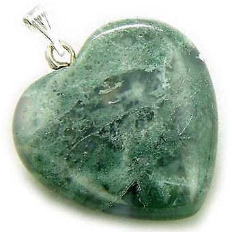 En heldig Puffy grønn mose agat Gemstone hjertet lykke Talisman anheng