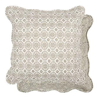 Clayre & EEF White Cushion cover quilted fabric khaki 50x50cm