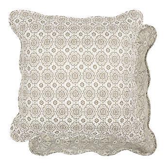 Clayre & EEF witte kussen cover Gewatteerde stof kaki 50x50cm