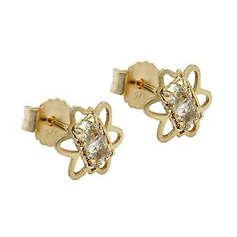 Gold Stud Earrings 375 plug flower with 2 Zircons, 9 KT GOLD