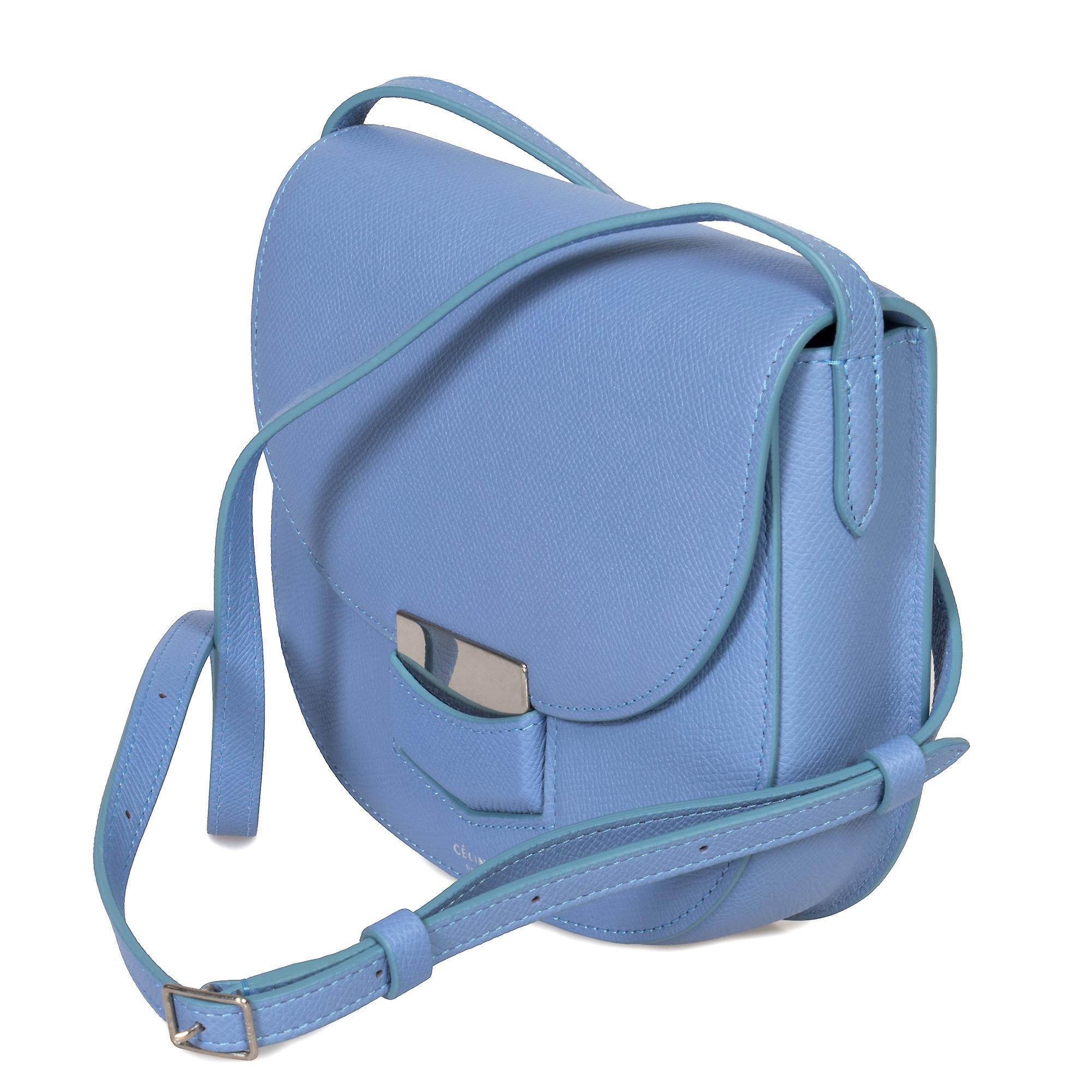 Celine små Trotteur bassenget blå kornet kalveskinn Lær Crossbody Bag