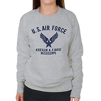 US Airforce Keesler AF Base Mississippi marinblå Text kvinnors tröja