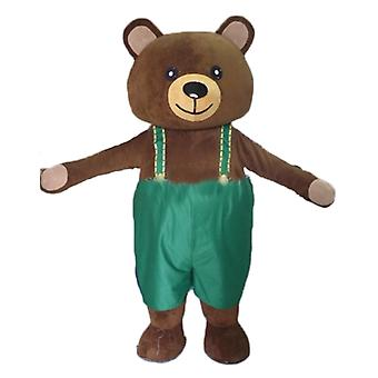 mascot big Teddy bear SPOTSOUND Brown, with green overalls