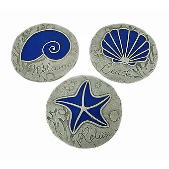 3 Piece Blue Seashell Beach Stepping Stone/Wall Hanging Set