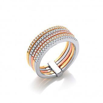 Cavendish Franse zilveren, roze en gele gouden Band Ring