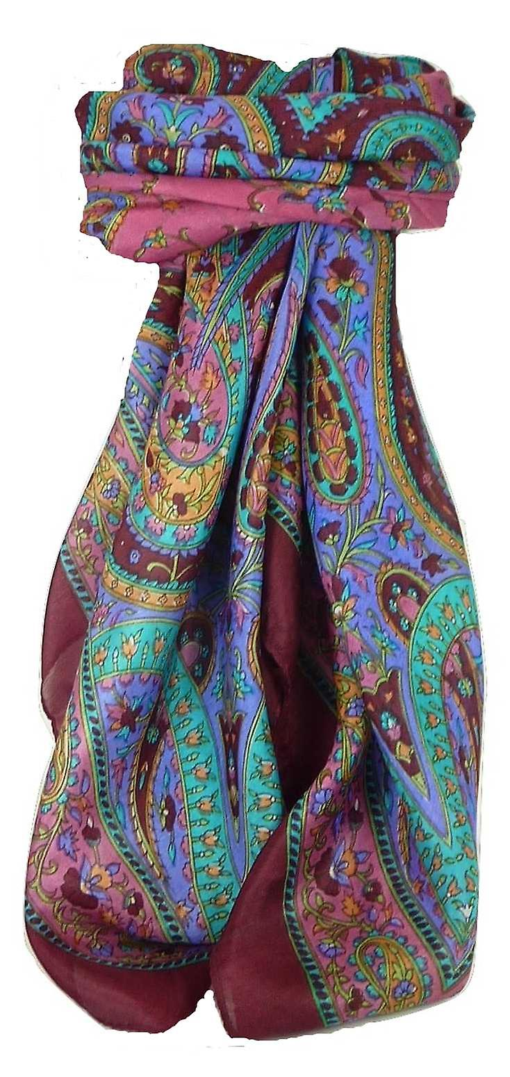 Classic Paisley Square Scarf Mulberry Silk Nori Hibiscus by Pashmina & Silk