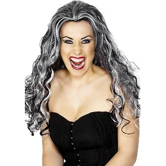 Long Black & White Messy Halloween Wig, Renaissance Vamp Wig.