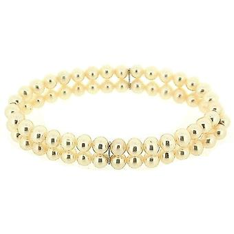 TOC Bleached White Spherical Freshwater Cultured Pearl Two Row Stretch Bracelet 7