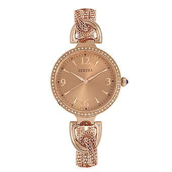 Bertha Sarah Chain-Link Watch w/Hanging Charm - Rose Gold