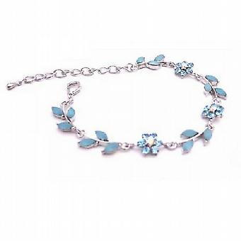 Smalto blu acquamarina elegante fiore foglie d'argento Bracciale in metallo