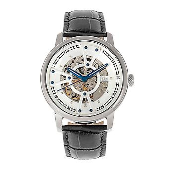 Reign Belfour Automatic Skeleton Leather-Band Watch - Silver