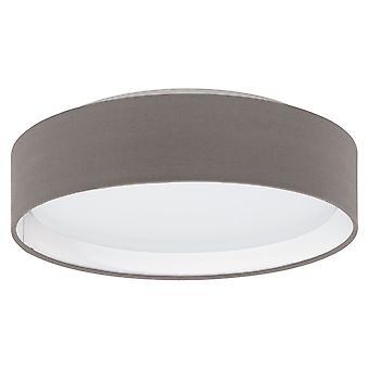 Eglo - Pasteri LED Flush encaixe com máscara de tecido marrom antracite com difusor branco EG31593 de teto