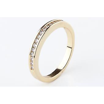 О, да! Ювелирные изделия 24K золото гальваническая половина вечность Band кольцо, нержавеющая сталь