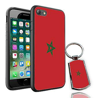For Samsung Galaxy S8 - Morocco Flag Design Printed Black Case Skin Cover + Free Metal Keyring - 0118 by i-Tronixs