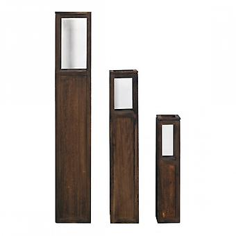 Meubles Rebecca Set 3 Brown Shabby Wood Plexiglass 111x20x20