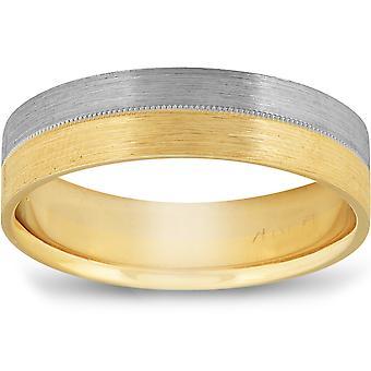 Matte Finish Two Tone Wedding Band 14K Gold