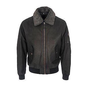 Mens Classic Fur Collar Aviator Removable Lining Jacket