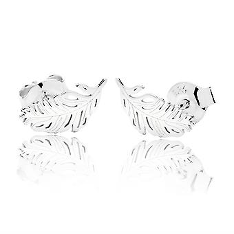 Ah! Jewellery Sterling Silver Unique 9mm Feather Stud Earrings, Stamped 925.