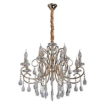 Glasberg - French Gold Finish Eight Light Chandelier With Glass And Crystal Decor 373012808