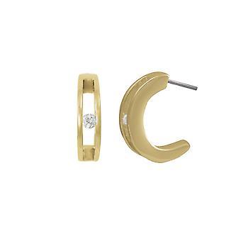 Eeuwige collectie eenheid Cubic Zirconia hoogglans gouden Toon halve hoepel doorboorde oorbellen
