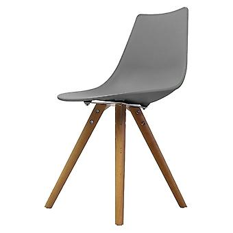 Fusion Living Iconic Mid Grey Plastic Dining Chair With Light Wood Legs