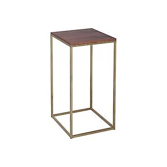 Gillmore Walnut And Gold Metal Contemporary Square Lamp Table