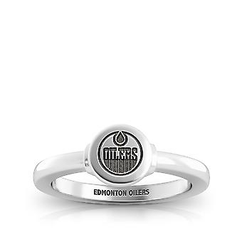 Edmonton Oilers Engraved Sterling Silver Signet Ring