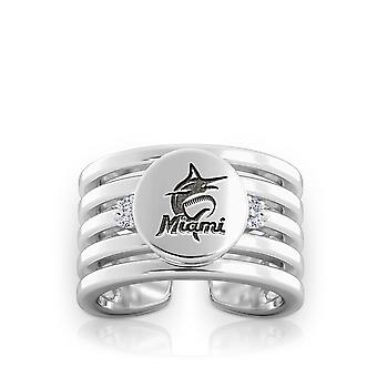 Miami Marlins Engraved Sterling Silver Diamond Multiband Cuff Ring