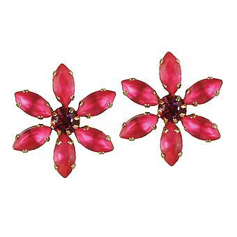 Eternal Collection Sentimental Rose Pink Crystal Flower Gold Tone Pierced Earrings