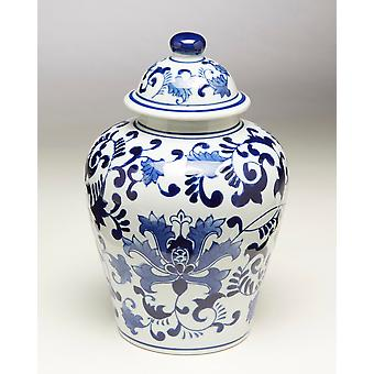 AA Importing 59777 10 Inch Blue And White Ginger Jar
