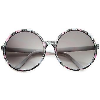 Gafas de sol redondas Oversize lente degradado impresión Floral de moda femenina 66mm