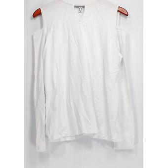 Susan Graver Maglione Rayon Nylon freddo spalla Mock Collo Bianco A297155