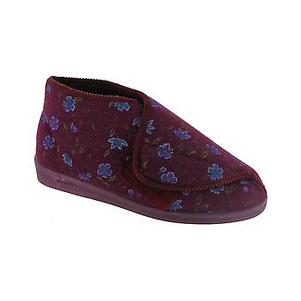 Comfylux Womens Mull Touch Fastening Bootee Wine